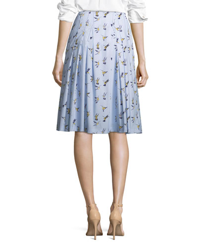 Bird-Print Party Skirt