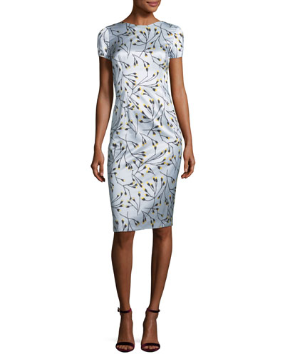 Short-Sleeve Floral Sateen Sheath Dress