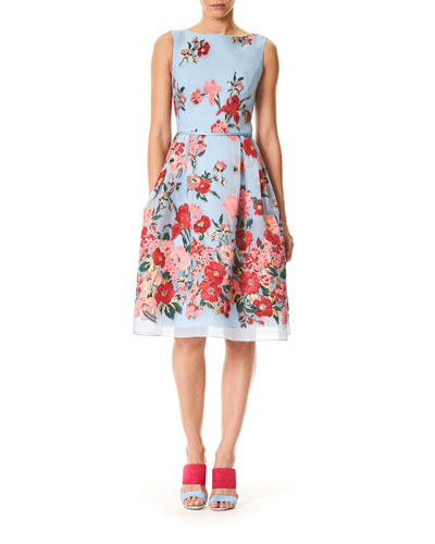 Sleeveless High-Neck Floral-Print Day Dress