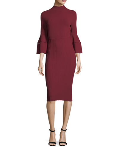 Mock-Neck Flounce-Sleeve Dress
