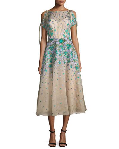 Floral-Embroidered Cold-Shoulder Dress