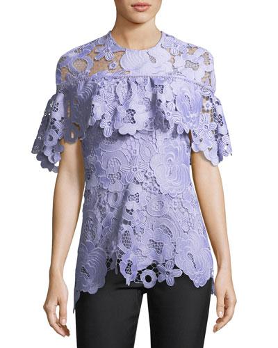 Flounced Short-Sleeve Lace Top