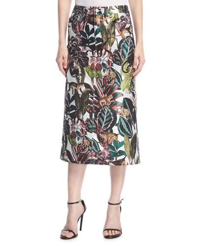 Jungle Jacquard Midi Skirt