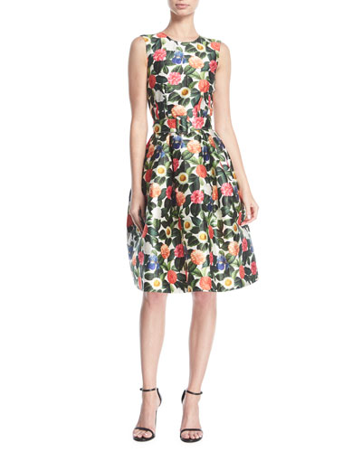 Belted Floral Jacquard Day Dress