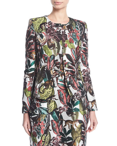 Jungle Jacquard Button-Front Jacket