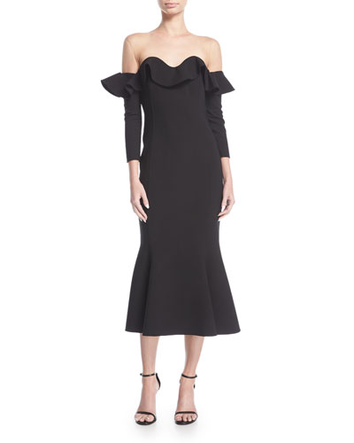 Flounced Off-Shoulder Illusion Midi Dress