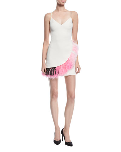Feather-Trim Mini Cocktail Dress