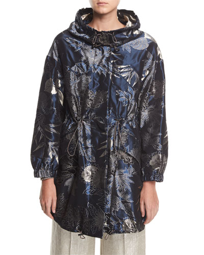 Paisley Etched Metallic Parka Jacket