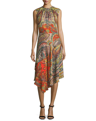 Floral-Print Dress with Metallic Grid
