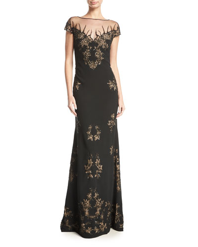 Beaded Illusion Cap-Sleeve Gown