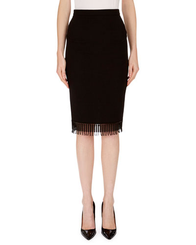 Fringed Wool Pencil Skirt