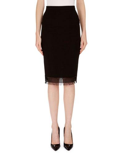 Fringed Wool Pencil Skirt