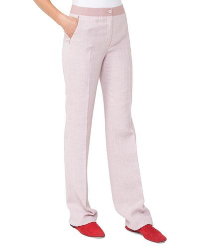 Linen-Wool Straight-Leg Pants