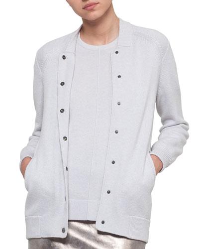 Knit Cashmere Baseball Sweater