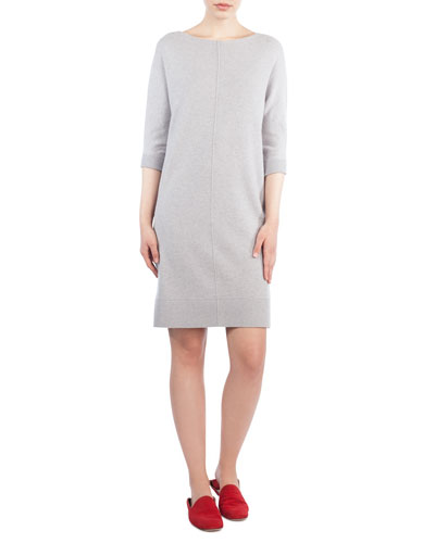 3/4-Sleeve Cashmere Tunic Dress