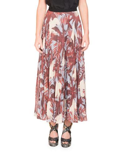 Nesrine Bird-Print Midi Skirt
