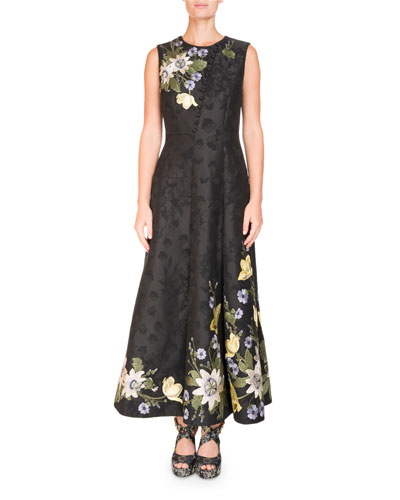 Yasmine Floral-Embroidered Midi Dress