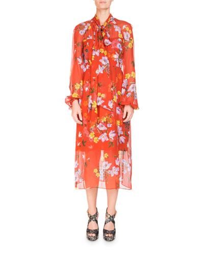 Tamaryn Floral-Print Tie-Neck Dress