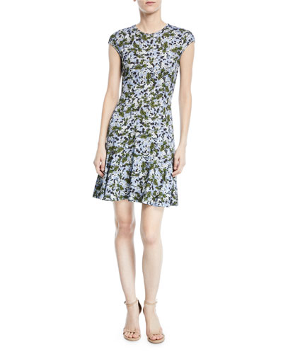 Carlina Floral Cap-Sleeve Dress