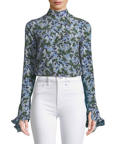 Lindsey Mock-Neck Floral-Print Silk Top