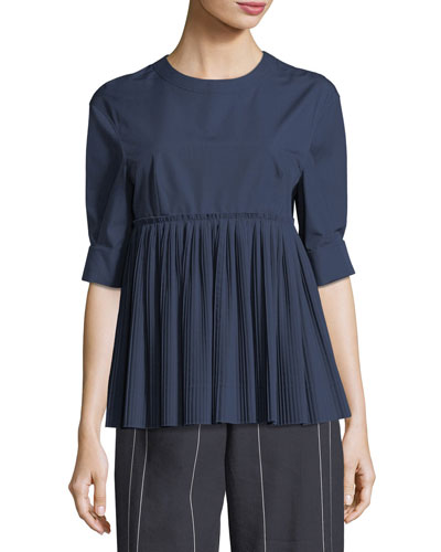 Half-Sleeve Pleated Poplin Top
