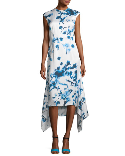 Tie Dye Print Cap-Sleeve Dress