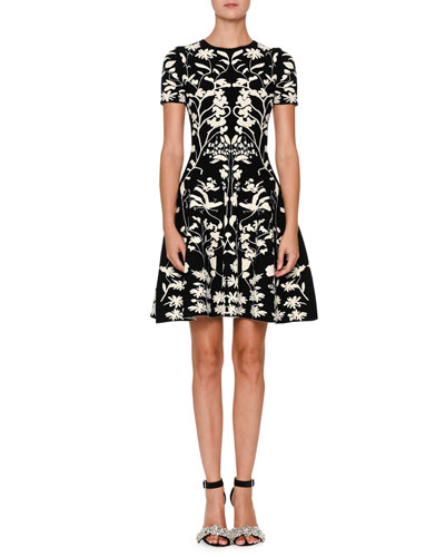 Short-Sleeve Fit-and-Flare Botanical Jacquard Cocktail Dress