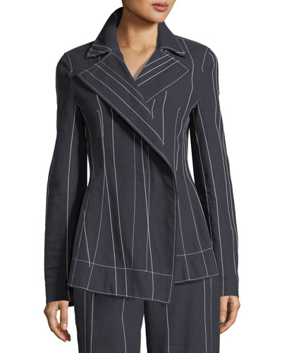 Stripe Asymmetric Blazer Jacket