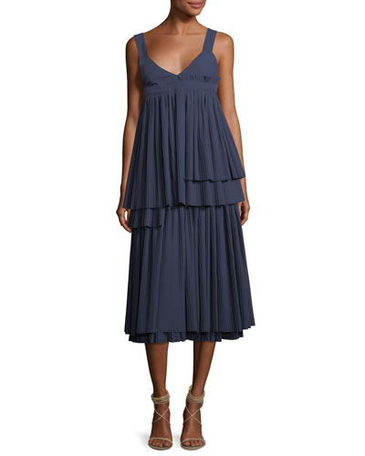Tiered Plisse Square-Back Maxi Dress