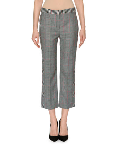 Slim-Fit Straight-Leg Patchwork Plaid Ankle Pants