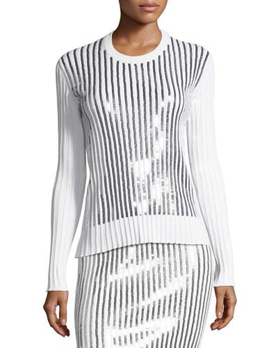 Sequin-Striped Crewneck Sweater