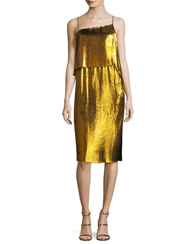 Metallic Plisse Two-Layer Spaghetti-Strap Cocktail Dress