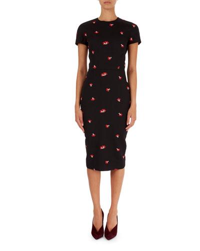 Short-Sleeve Flower Jacquard Dress