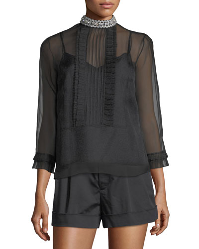 Crinkle Organza Pintuck Top w/ Pleating & Embroidery