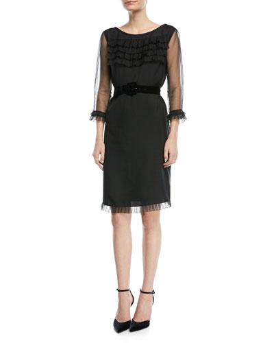 3/4-Sleeve Ruffled Sheath Dress w/Belt
