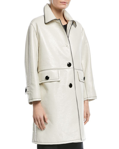 Piped Button-Front Coat