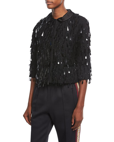 Paillette-Embellished 3/4-Sleeve Jacket