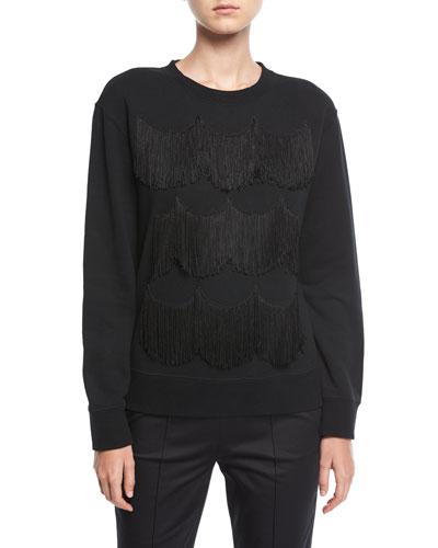 Scalloped Fringe Crewneck Sweatshirt