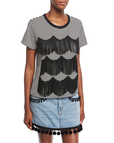 Striped Fringe-Trim T-Shirt