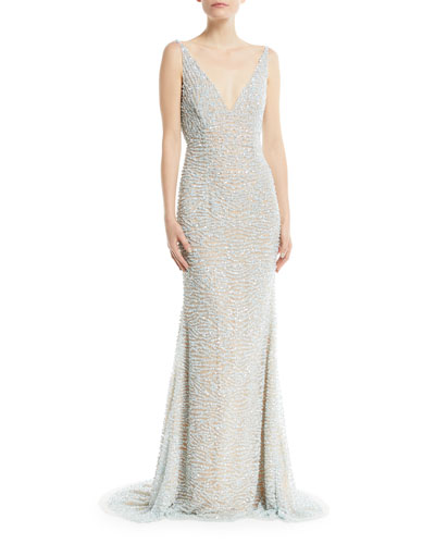 Beaded Cowl-Back Gown