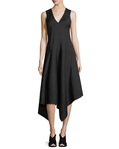 Sleeveless Asymmetric Midi Dress