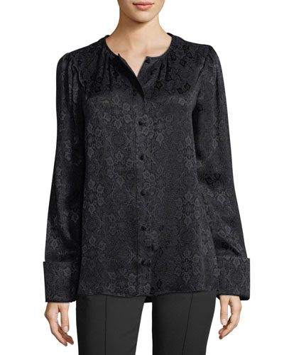 Collarless Jacquard Blouse