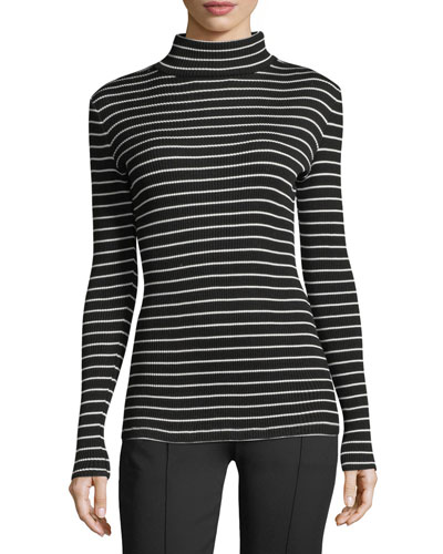 Striped Jersey Turtleneck Sweater