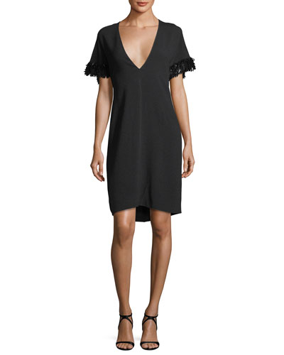 Pebble Crepe V-Neck Capelet Dress