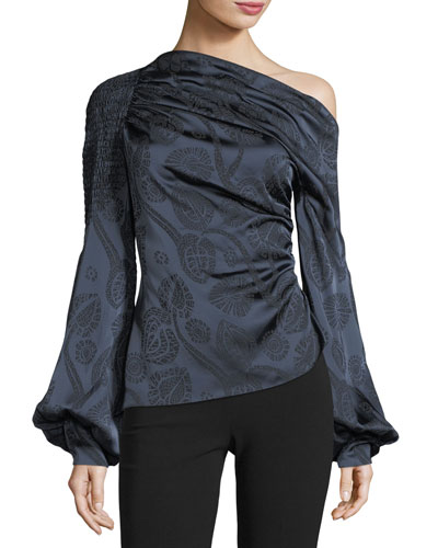 Off-Shoulder Paisley Satin Top