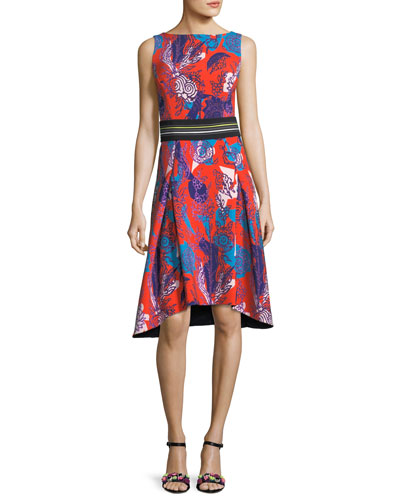 Sleeveless Floral-Print Cady Dress