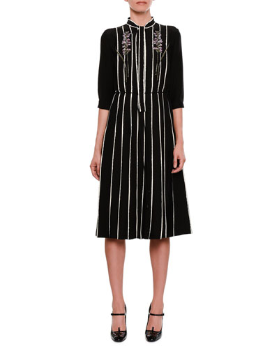 Striped Floral-Embroidered Tie-Neck Dress