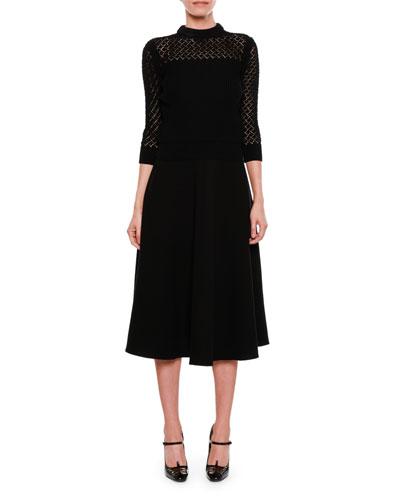3/4-Sleeve Crocheted Top