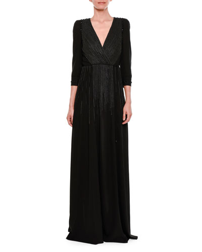 3/4-Sleeve Embroidered Velvet Surplice Gown
