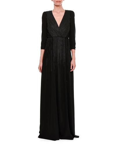 3/4-Sleeve Embroidered Velvet Surplice Gown